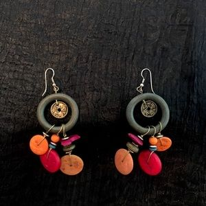 Vintage wood & faux Chinese coin earrings